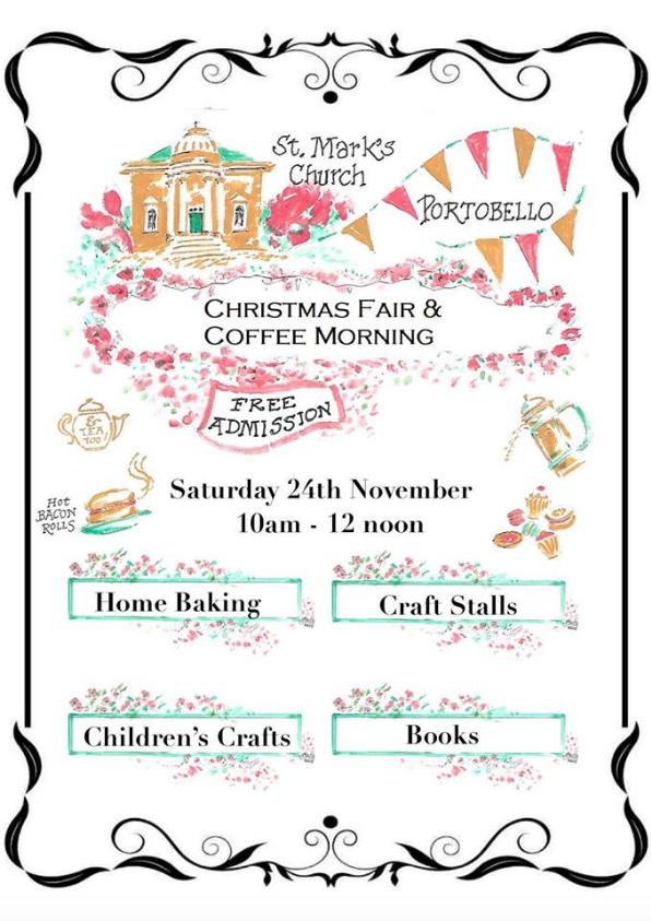 Christmas Fair & Coffee Morning – 24 Nov – St Mark's Portobello